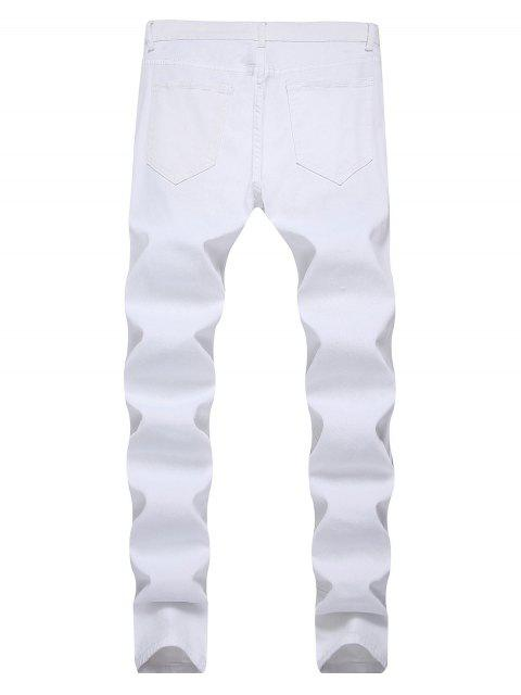 lady Destroyed Decoration Zip Fly Slim Jeans - WHITE 38 Mobile