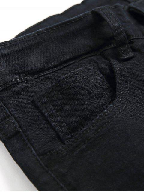 affordable Destroyed Decoration Zip Fly Slim Jeans - BLACK 34 Mobile