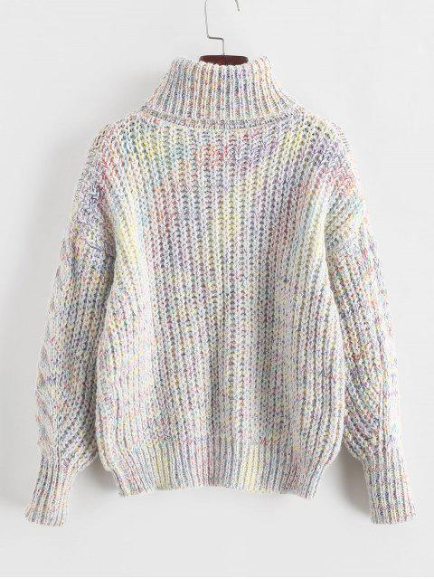 unique Heathered Turtleneck Cable Knit Pullover Sweater - MULTI-A ONE SIZE Mobile