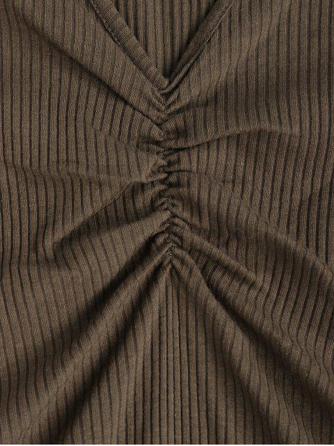 V領平紋褶飾緊身連衣褲 - 軍綠色 S Mobile