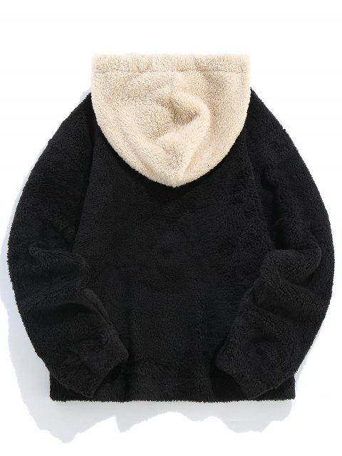 ZAFUL Känguru Tasche Flauschige Kunstpelz Hoodie - Schwarz L Mobile