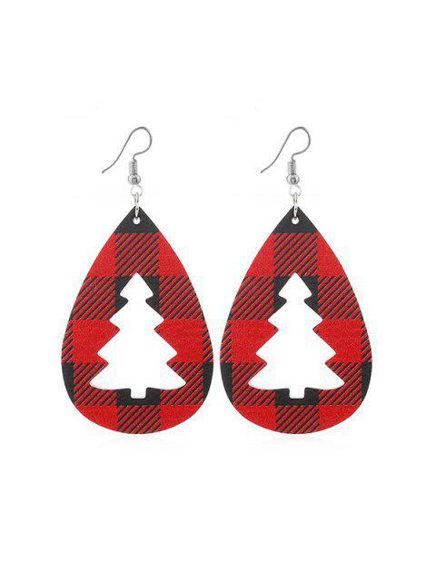 Plaid Leder Hohle Weihnachtsbaum Ohrringe - Rot  Mobile