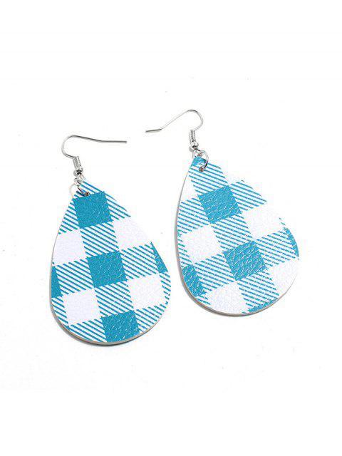 Plaid-Leder-Wasser-Tropfen-Ohrringe - Blau  Mobile