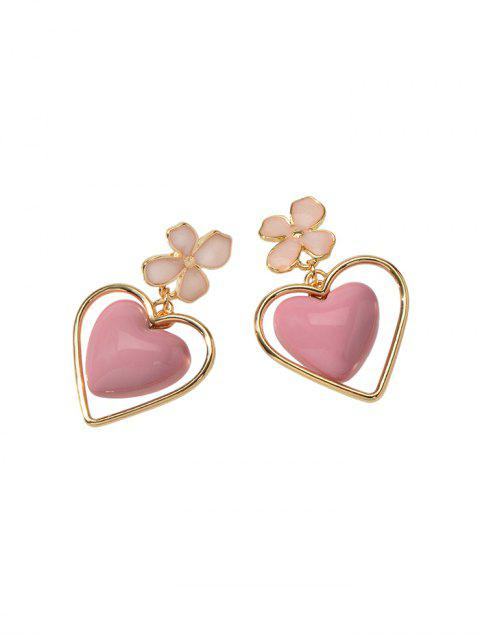 Цветок Сердце Эмаль Серьги с подвеской - Светло-розовый  Mobile