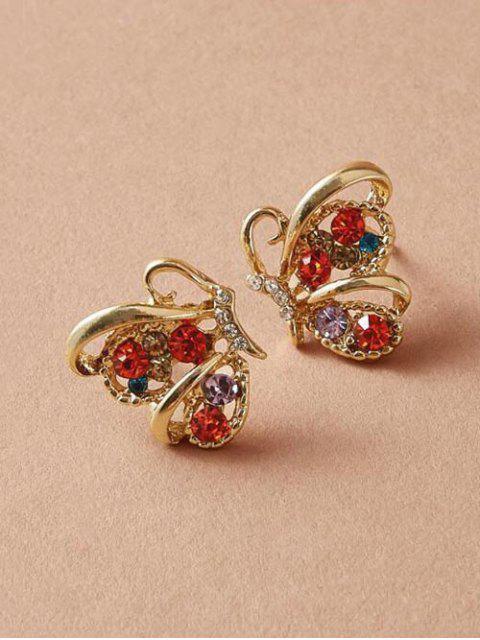 Metallic-Schmetterlings-Bolzen-Ohrringe - Gold  Mobile