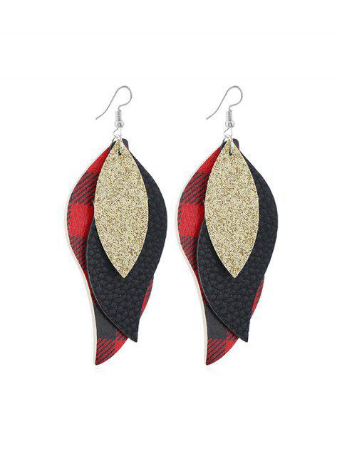 Форма листа Клетчатые Серьги с подвеской - Красный  Mobile