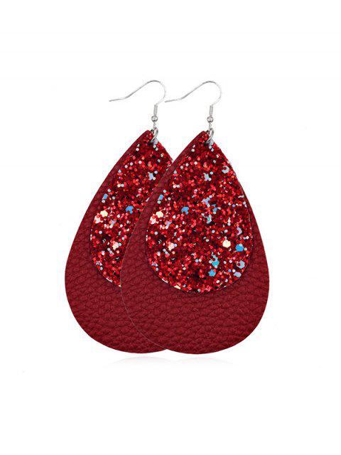 金蔥皮革水滴耳環 - 紅  Mobile