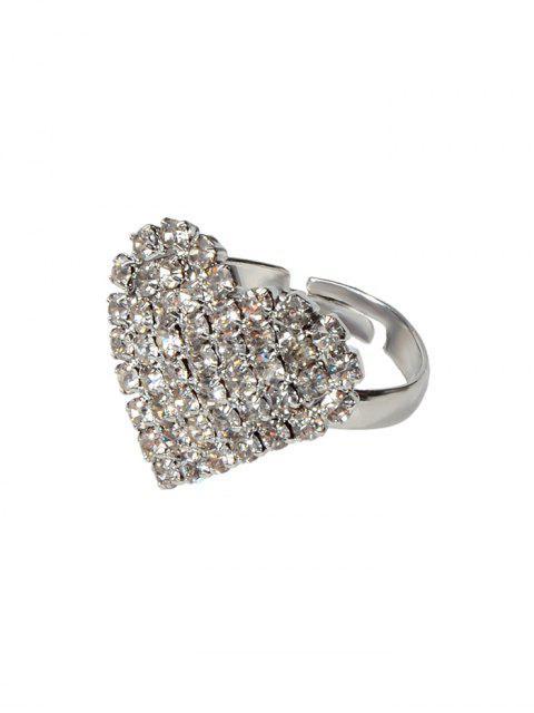 Volle Rhinestone-Herz-Finger-Ringe - Silber  Mobile
