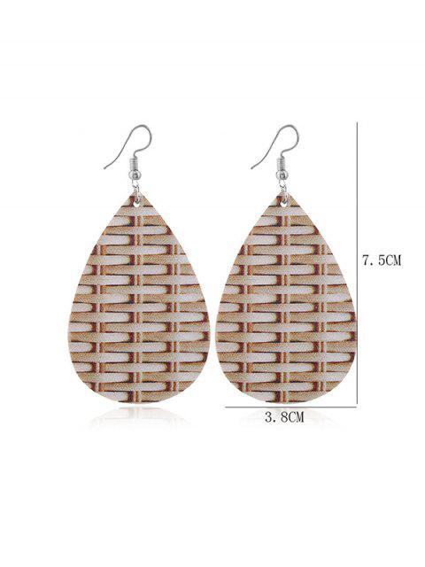 Weben Muster-Leder-Wasser-Tropfen-Ohrringe - Tan  Mobile