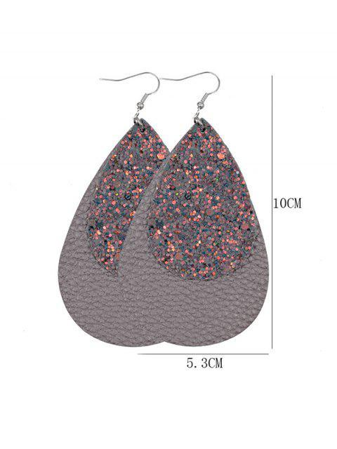 金蔥皮革水滴耳環 - 灰色  Mobile