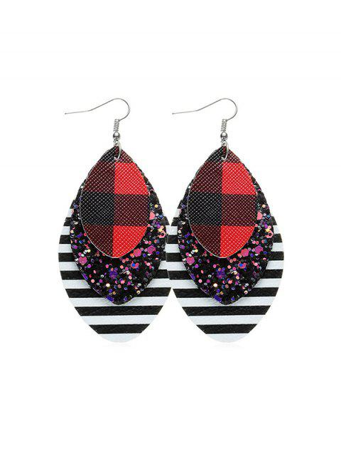 Sequined Plaid Teardrop-Haken-Ohrringe - Rot  Mobile