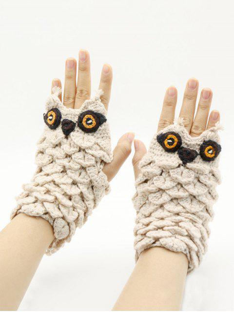 Мультфильм Сова Без пальцев Вязаные Перчатки - Тёплый белый  Mobile