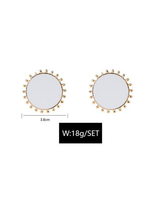 Круглая форма Металл Серьги-пусеты - Белый  Mobile