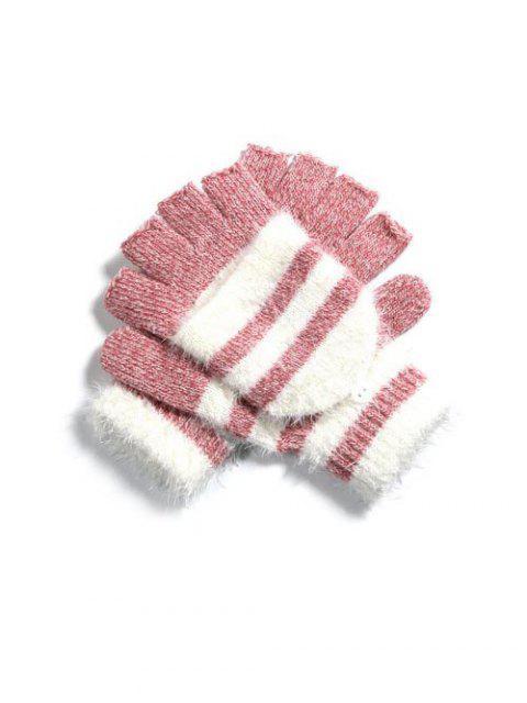 Зимние Полосатые Вязаные Перчатки Без пальцев - Розовый  Mobile