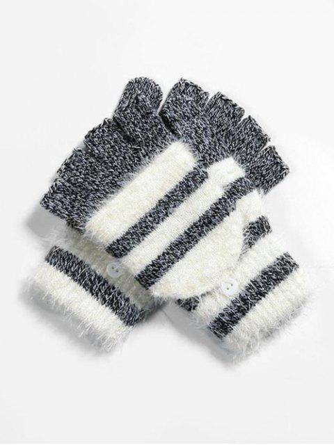 Зимние Полосатые Вязаные Перчатки Без пальцев - Чёрный  Mobile