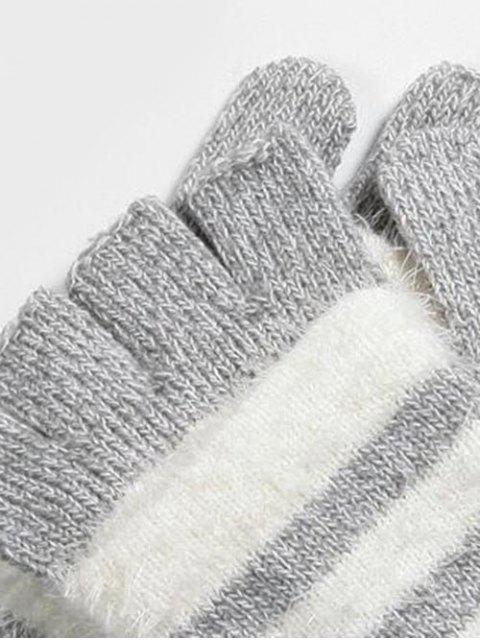 Winter Streifen Fingerless Strickhandschuhe - Grau  Mobile