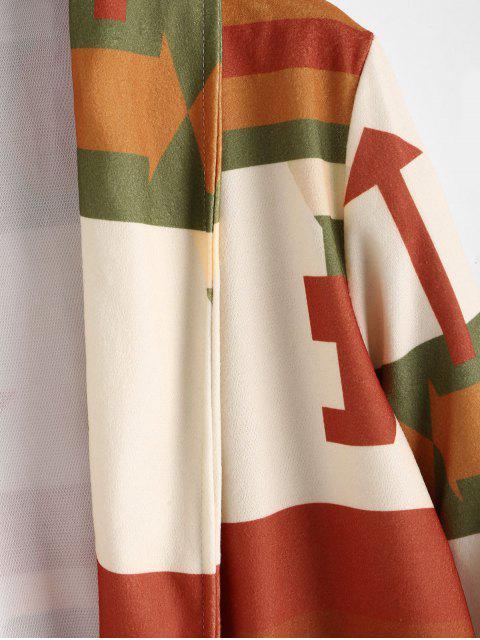 Geometrische Dual-Taschen Maxi Cardigan - Orange 2XL Mobile