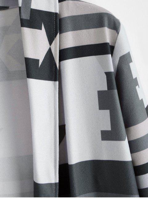 Geometrische Dual-Taschen Maxi Cardigan - Grau 2XL Mobile