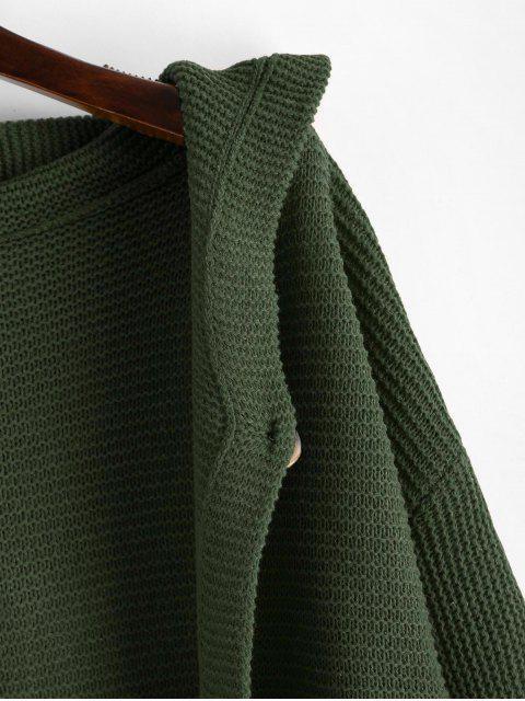 Geknöpft Fest Strickjacke mit Kapuze - Grün L Mobile