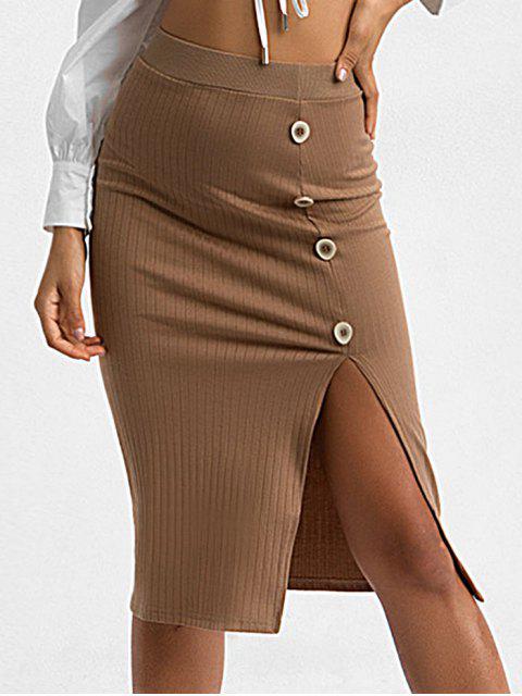 狹縫模擬按鈕Bodycon針織裙 - 棕色 S Mobile