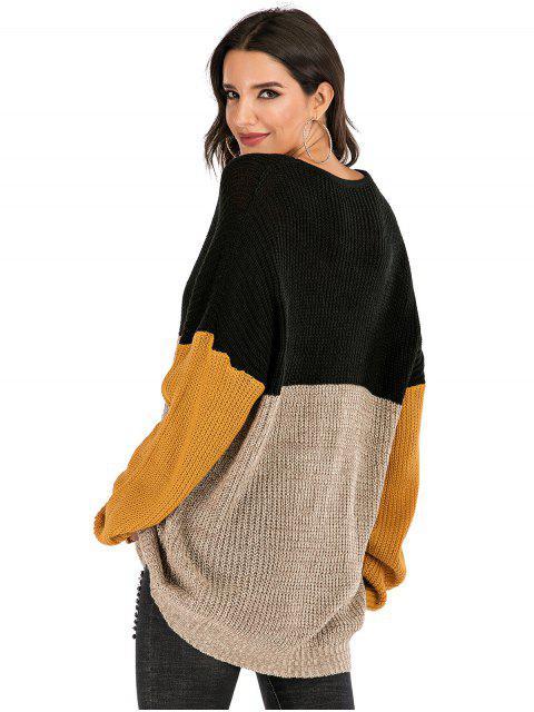 lady Colorblock Crew Neck Longline Sweater - MULTI M Mobile