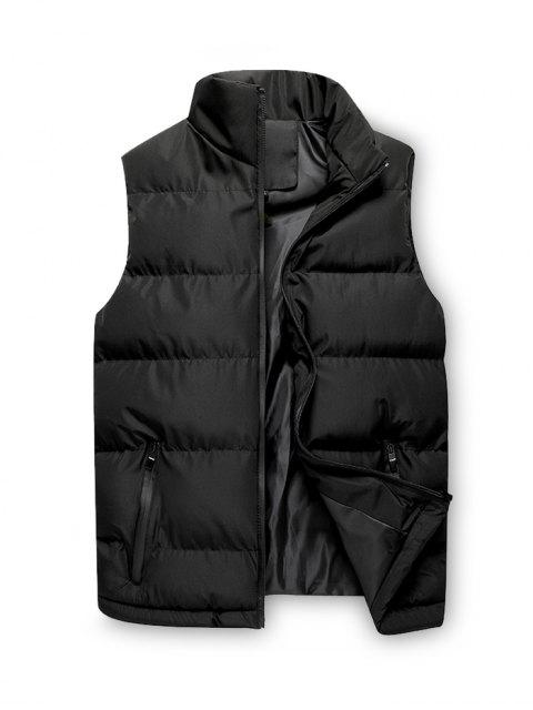 hot Solid Zip Up Casual Puffer Waistcoat - BLACK S Mobile