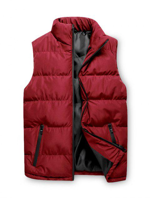 lady Solid Zip Up Casual Puffer Waistcoat - RED M Mobile