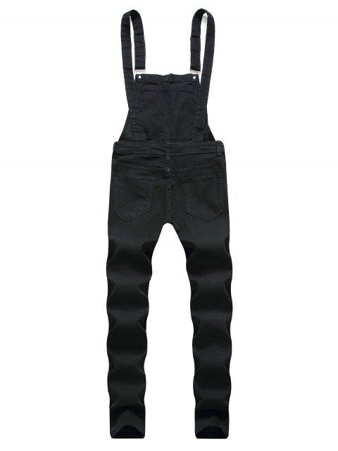 lady Solid Color Ripped Zipper Denim Overalls - BLACK L Mobile