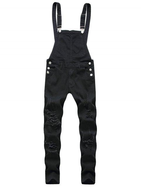 online Solid Color Ripped Zipper Denim Overalls - BLACK 2XL Mobile