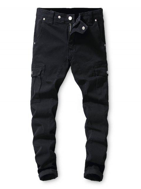 outfits Solid Color Pocket Decorated Casual Jeans - BLACK M Mobile