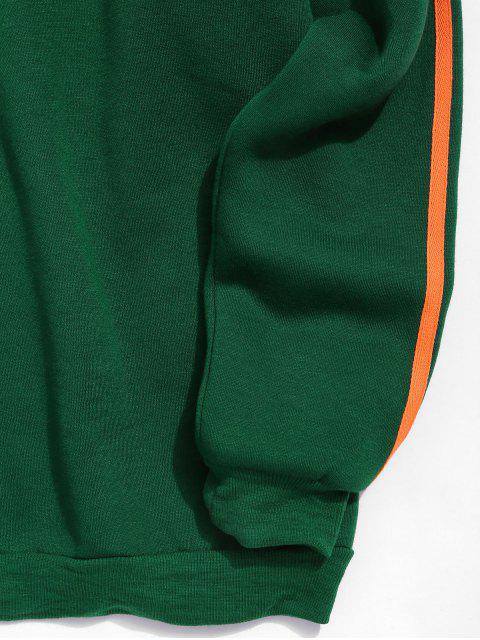 休閒圖形文字印刷模糊帽衫 - 深綠色 L Mobile