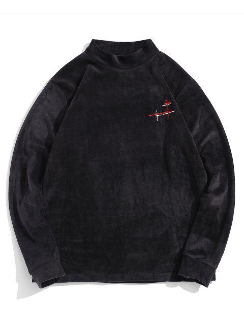 模擬領休閒衛衣 - 黑色 XL Mobile