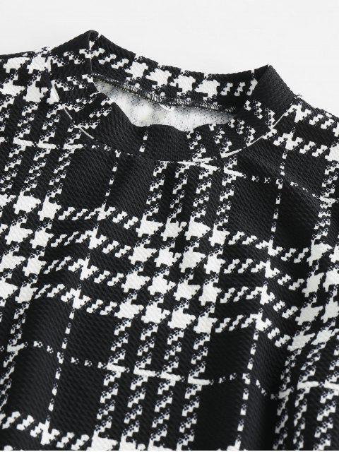 ZAFUL Mini Robe Moulante à Carreaux de Grille - Blanc L Mobile