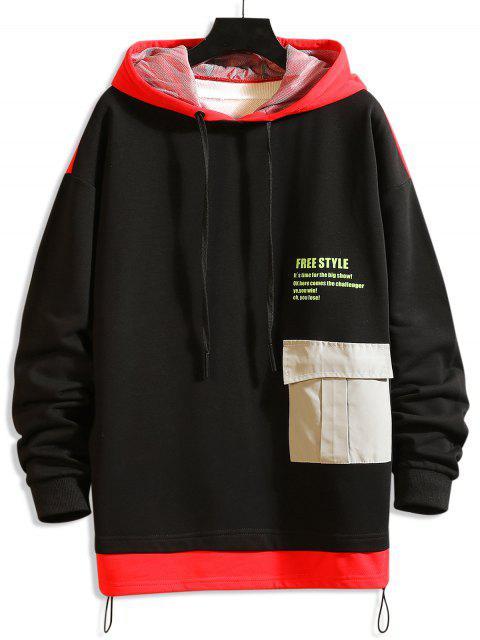 自由式圖形顏色阻斷落肩衫 - 紅 XL Mobile