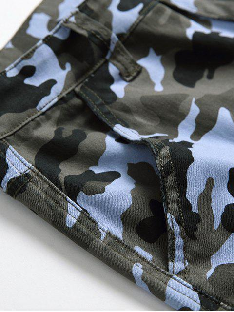 lady Casual Camo Pattern Zip Fly Jeans - THREE SAND CAMOUFLAGE 38 Mobile