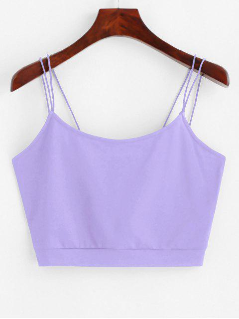 ZAFUL Volltonfarbe Crop Chasuble Top mit Riemchen - Lila S Mobile