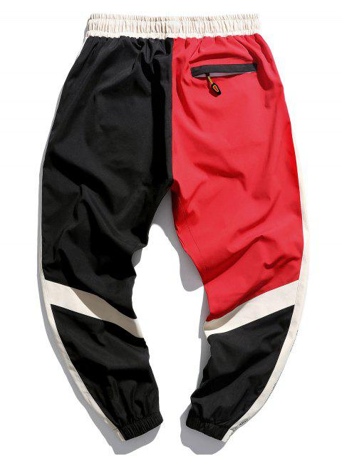 fashion Letter Graphic Print Color Blocking Panel Jogger Pants - RUBY RED L Mobile