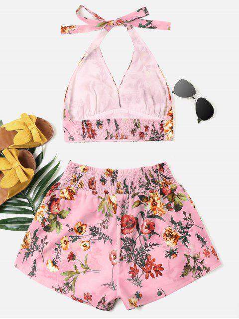shop Print Halter Bralette Top and Shorts Set - PINK L Mobile