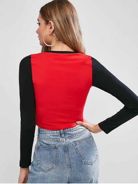 new Colorblock Dragon Cropped Tee - RED L Mobile