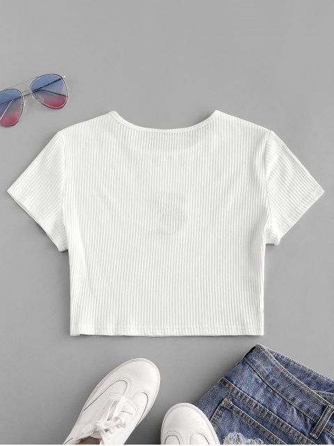 outfits Dragon Embroidered Ribbed Crop Tee - WHITE L Mobile