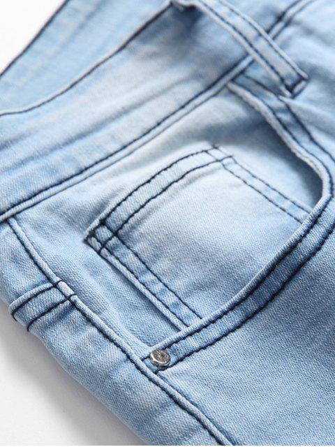 Jeans Casual Deslavado y Zipper - Azul de Jeans  34 Mobile
