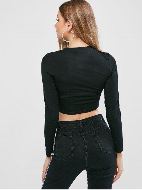 hot ZAFUL Funny Graphic Cropped Tee - BLACK S Mobile