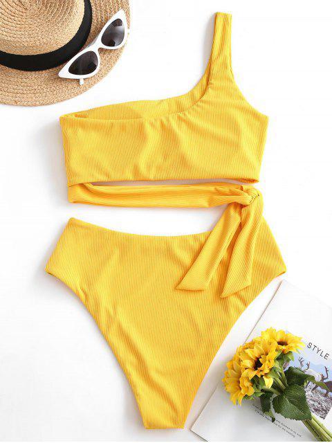 Bikini de Un Hombro Sólido con Nudo ZAFUL - Amarillo Brillante L Mobile