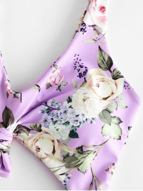 ZAFUL Una Pieza de Corte Alto con Nudo y Estampado Floral - Color de malva M Mobile