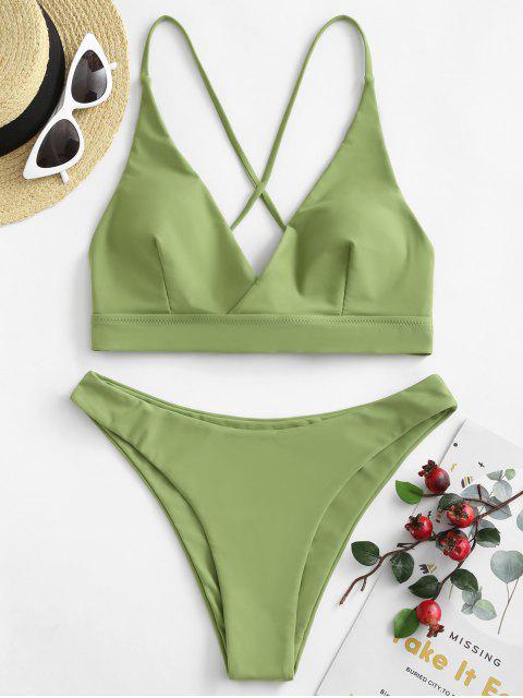 ZAFUL Bikini de Sobrepelliz con Encaje - Serpiente Verde L Mobile