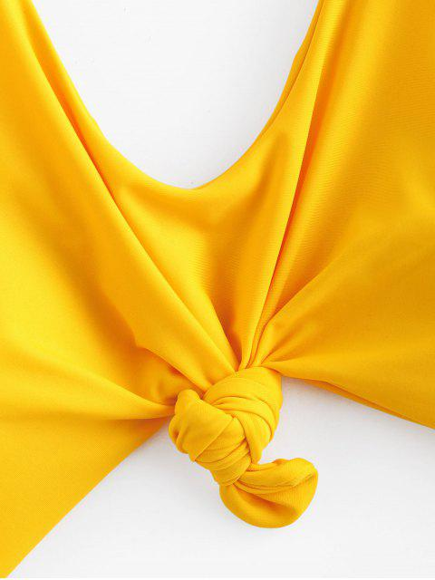 new ZAFUL Leaves Cut Out One-piece Swimsuit - BRIGHT YELLOW S Mobile
