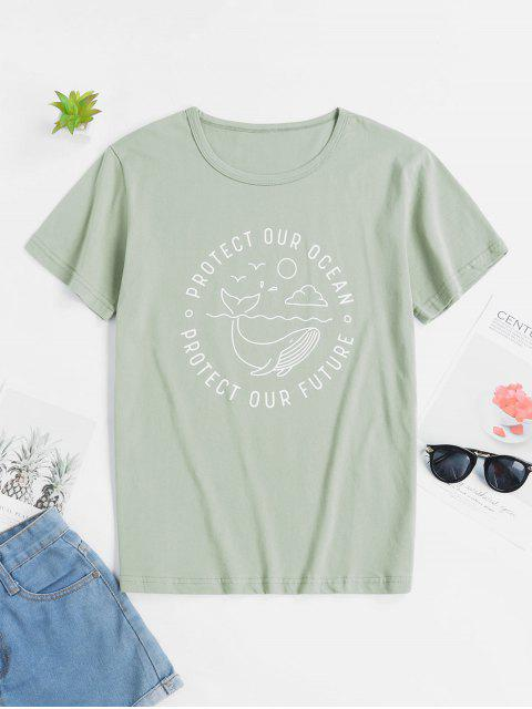 lady Ecological Slogan Graphic Short Sleeve Tee - MULTI-A S Mobile