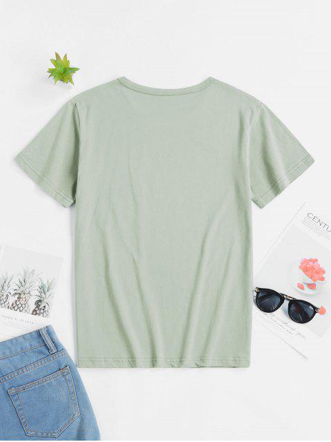 sale Ecological Slogan Graphic Short Sleeve Tee - MULTI-A L Mobile