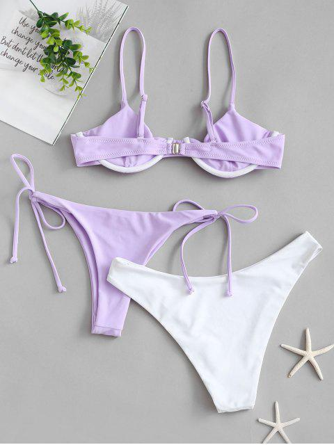 womens ZAFUL Tie Side Underwire Three Piece Swimsuit - LAVENDER BLUE S Mobile