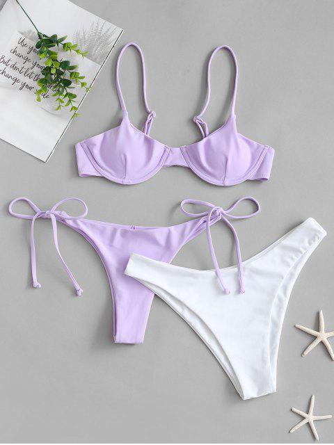 women ZAFUL Tie Side Underwire Three Piece Swimsuit - LAVENDER BLUE L Mobile